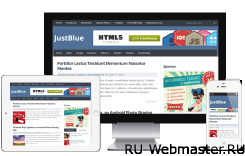 JustBlue WordPress Theme 13 шаблонов Wordpress от компании mythemeshop.com